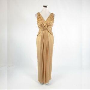 Beige gold 100% silk KAY UNGER ball gown dress 6